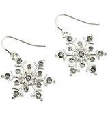 Crystal Accented Silvertone Snowflake Earrings #AE0981-SC