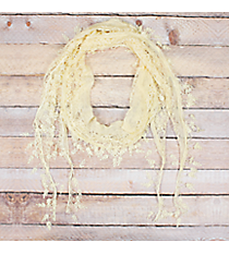 Cream Lace Scarf with Leaf Fringe #EASC7116-CR