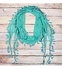 Mint Lace Scarf with Leaf Fringe #EASC7116-MT