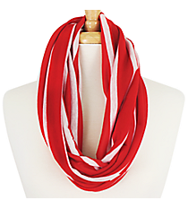 Red Striped Infinity Scarf #EASC7395-RD