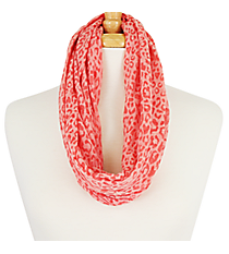 Coral Leopard Infinity Scarf #EASC7515-CO