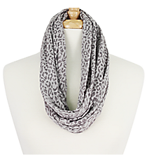 Grey Leopard Infinity Scarf #EASC7515-GE
