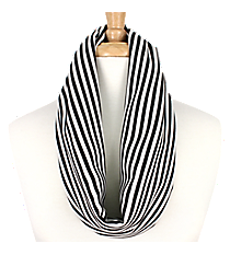 Black and White Striped Infinity Scarf #EASC8008-BK