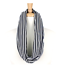 Navy and White Striped Infinity Scarf #EASC8008-NV