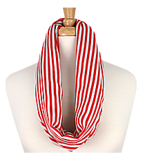 Red and White Striped Infinity Scarf #EASC8008-PK