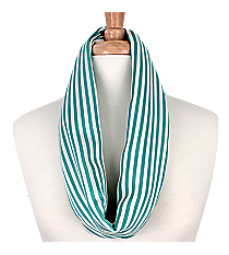 Turquoise and White Striped Infinity Scarf #EASC8008-TQ