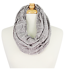 Soft Gathered Grey Infinity Scarf #EASC8035-GE
