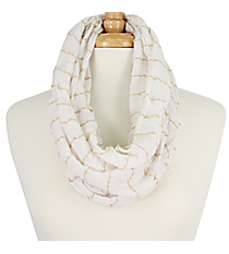Soft Gathered White Infinity Scarf #EASC8035-WT