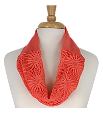 Coral Sunflower Mini Tube Scarf #EASC8066-CO