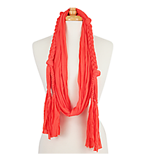 Coral Braided Jersey Scarf #EASC8068-CO