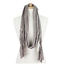 Grey Braided Jersey Scarf #EASC8068-GE