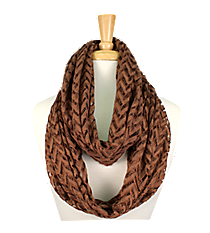 Brown Lace Chevron Infinity Scarf #EASC8074-BR