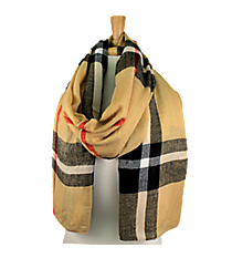 Camel Plaid Long Scarf #EASC8124-CA