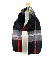 Black Plaid Long Scarf #EASC8124-BK