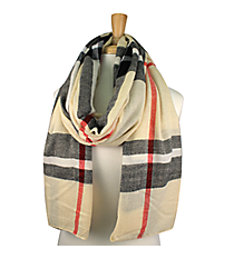 Ivory Plaid Long Scarf #EASC8124-IV