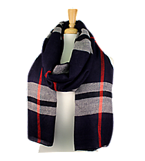 Navy Plaid Long Scarf #EASC8124-NV