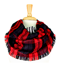 Red Plaid Infinity Scarf #EASC8164-RD