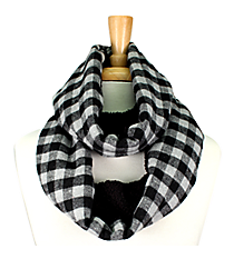 Grey & Black Check Plaid and Fleece Infinity Scarf #EASC8169-GE