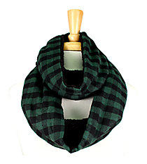 Green & Black Check Plaid and Fleece Infinity Scarf #EASC8169-GN