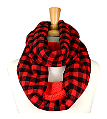 Red & Black Check Plaid and Fleece Infinity Scarf #EASC8169-RD