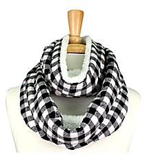 White & Black Check Plaid and Fleece Infinity Scarf #EASC8169-WT