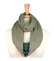 Green Striped Infinity Scarf #EASC8173-GN