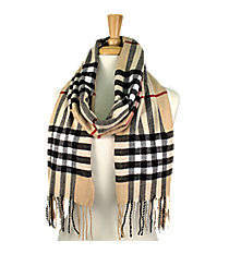 Fringed Beige Plaid Long Scarf #EASC8200-BE