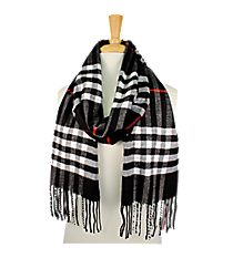 Fringed Black Plaid Long Scarf #EASC8200-BK