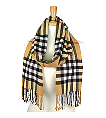 Fringed Camel Plaid Long Scarf #EASC8200-CA