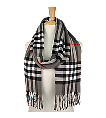 Fringed Grey Plaid Long Scarf #EASC8200-GE