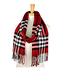 Fringed Red Plaid Long Scarf #EASC8200-RD