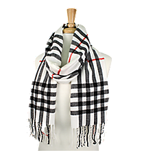 Fringed White Plaid Long Scarf #EASC8200-WT
