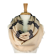 Beige and Navy Striped Infinity Scarf #EASC8206-BE