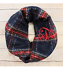 Plaid It's Autumn Infinity Scarf, Navy #EASC8467-NV