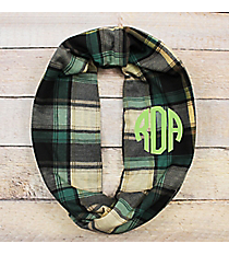 Perfectly Plaid Infinity Scarf, Black and Green #EASC8480-BKGN