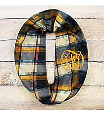 Perfectly Plaid Infinity Scarf, Navy and Mustard #EASC8480-NVMU