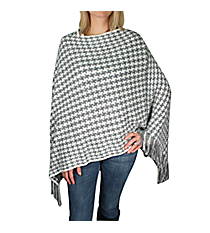 Grey and White Houndstooth Poncho with Fringe #EAPC8167-WT