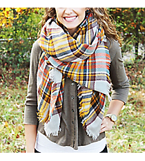 Pumpkin Patch Plaid Blanket Scarf #EASW8474-GEMU