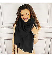 Winter Warmth Black Blanket Scarf #EASW8488-BK