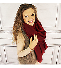 Winter Warmth Burgundy Blanket Scarf #EASW8488-BU