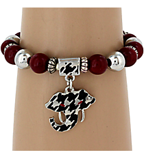 Houndstooth Elephant Stretch Bracelet #UB9678-RED
