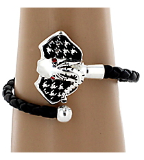 Black Coil Bracelet with Houndstooth Elephant #AB6895-ASJ