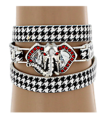 Houndstooth Wrap Bracelet with Red Crystal Silvertone Elephant #AB7045-ASWJ1