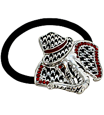 Red Crystal Houndstooth Elephant with Fedora Ponytail Holder/Bracelet #AH0013-ASR