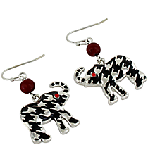 "1"" Hounstooth Elephant Earrings #UE9089-RED"