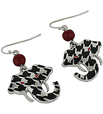 "1"" Hounstooth Elephant Head Earrings #UE9090-RED"