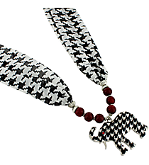 "18"" Red Beaded Houndstooth Elephant Scarf Necklace #UN8285-RED"