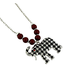 "18"" Red Beaded Houndstooth Elephant Pendant Necklace #UN8286-RED"