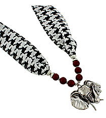 "18"" Red Beaded Houndstooth Elephant Scarf Necklace #UN8287-RED"