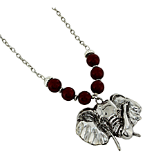 "18"" Red Beaded Elephant Pendant Necklace #UN8288-RED"